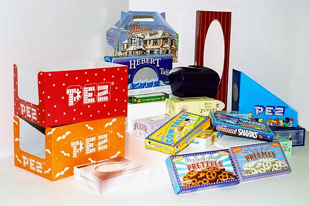 pez, pretzel, and candy boxes